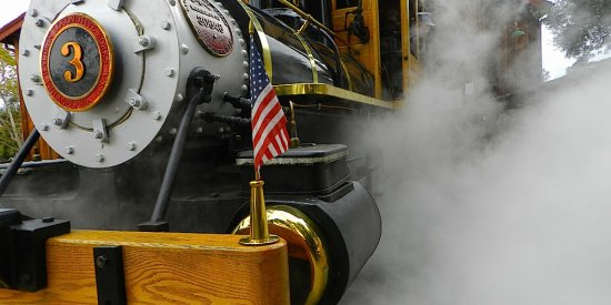 Poway Midland Railroad Train Steaming Up Close